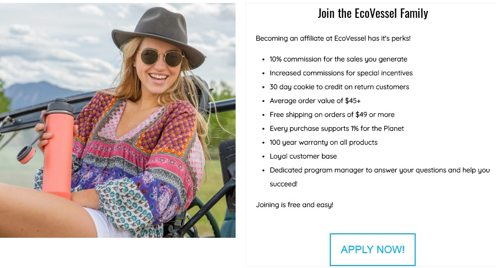 ecovessel affiliate sign up page