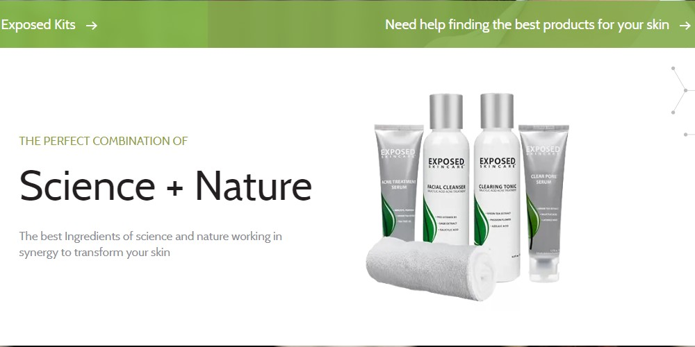 exposed skincare home page
