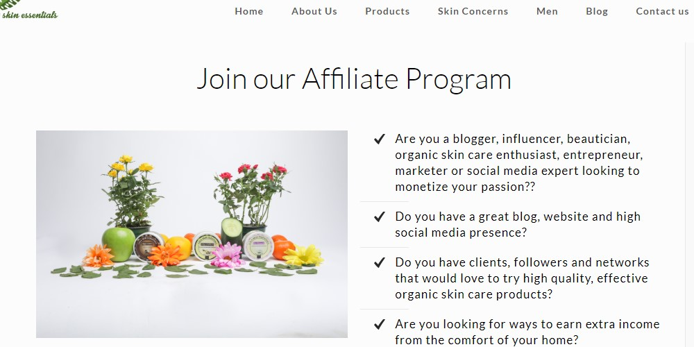 lala skin essentials affiliate sign up page