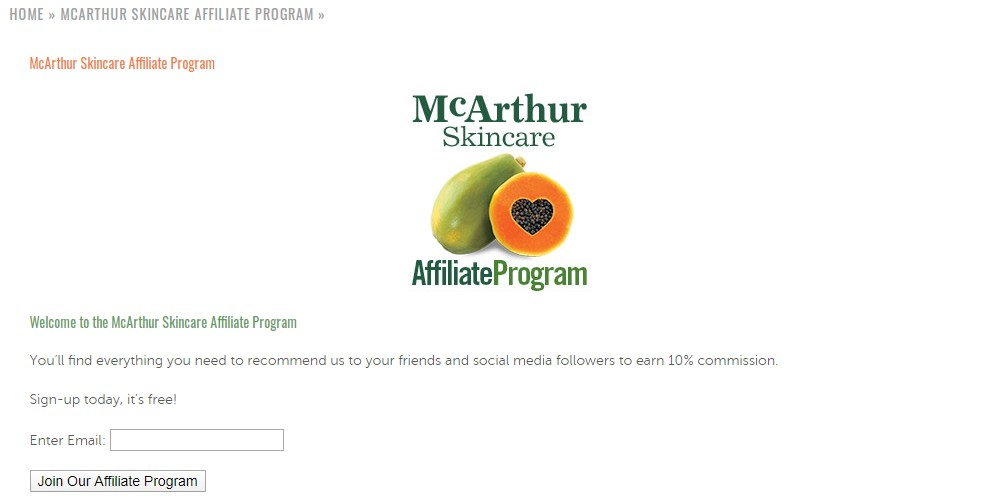 mcarthur skincare affiliate sign up page