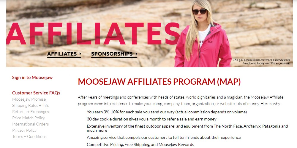 moosejaw affiliate sign up page
