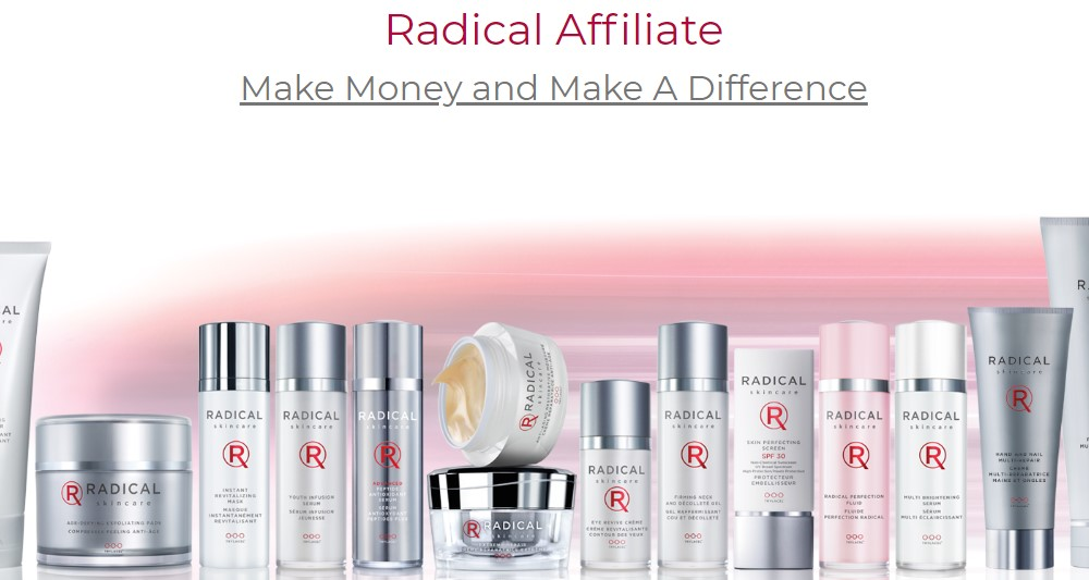 radical skincare affiliate sign up page