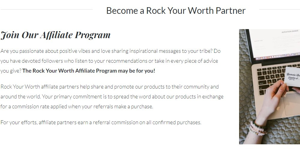 rock your worth affiliate sign up page