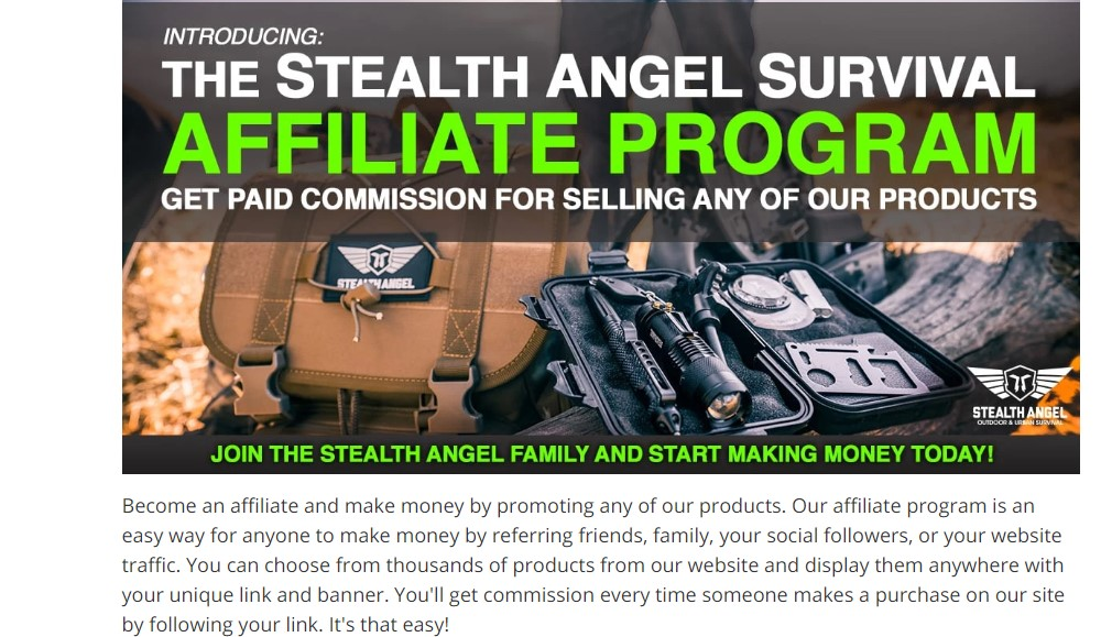 stealth angel affiliate sign up page