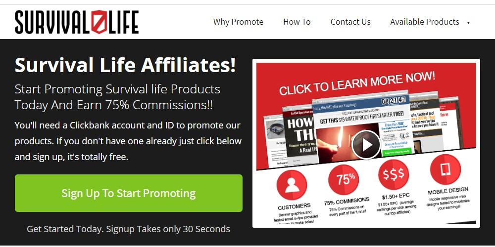 survival life affiliate sign up page