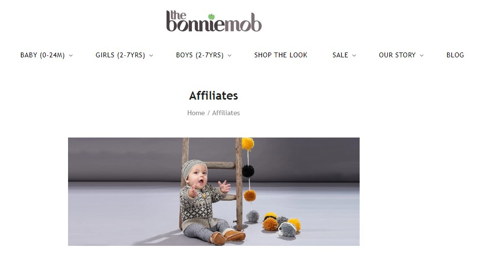 the bonnie mob affiliate sign up page