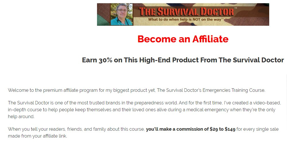 the survival doctor affiliate sign up page