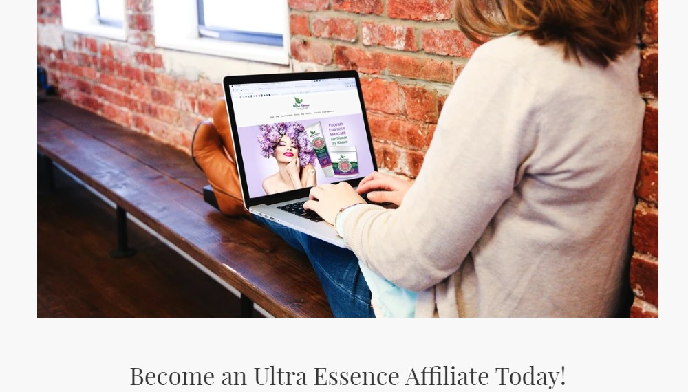 ultra essence affiliate sign up page