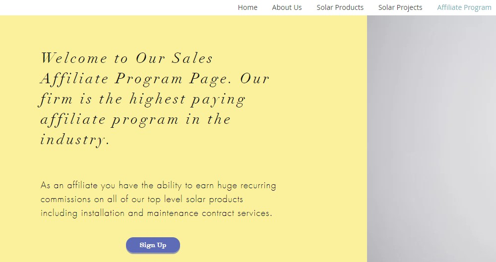 asp solar technologies affiliate sign up page