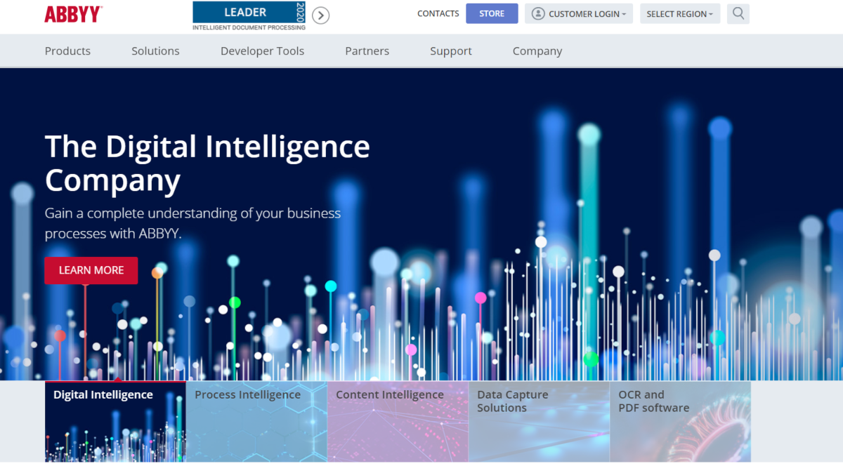 This is a screenshot taken from the Abbyy.com, a digital intelligence company with a suite of data capture solutions and PDF software to minimize data entry tasks