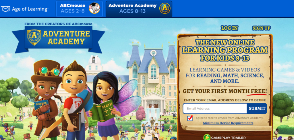 This is a screenshot taken from the Age of Learning's Adventure Academy website showing they provide an online learning program for kids aged 8 to 13 years old with lessons in reading, math, science and more.