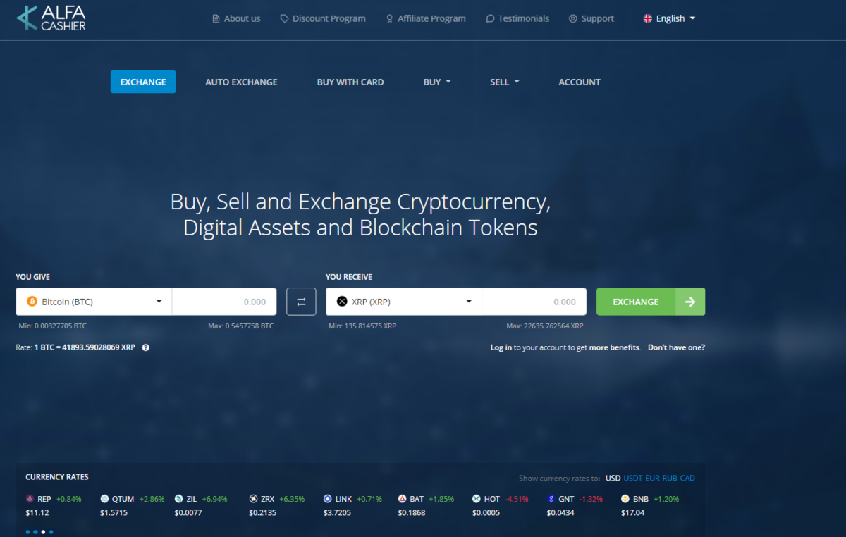 This is a screenshot taken from the alfacashier.com website that operates globally to make it easier to buy, sell and exchange blockchain tokens, cryptocurrencies and other digital assets.