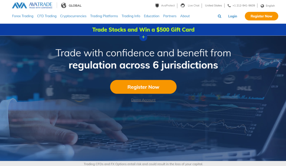 This is a screenshot of the avatrade.com website that can be used for trading bitcoin CFDs.