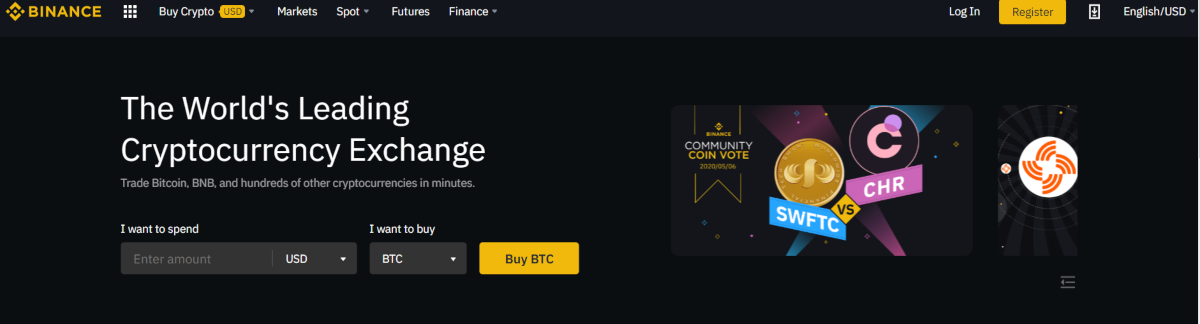 This is a screenshot taken from the Binance.com website showing they have hundreds of altcoins on the exchange that can be traded in minutes.