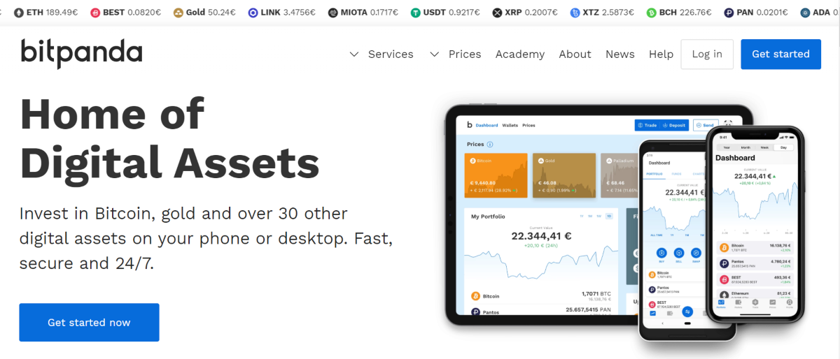 This is a screenshot of the BitPanda.com, which is a European Bitcoin Exchange.