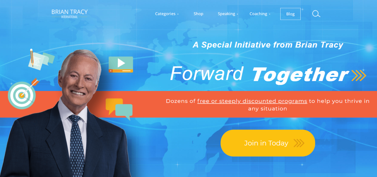 This is a screenshot of the BrianTracy.com website that shows the wesbite has a number of training products for self-development and business growth including coaching.