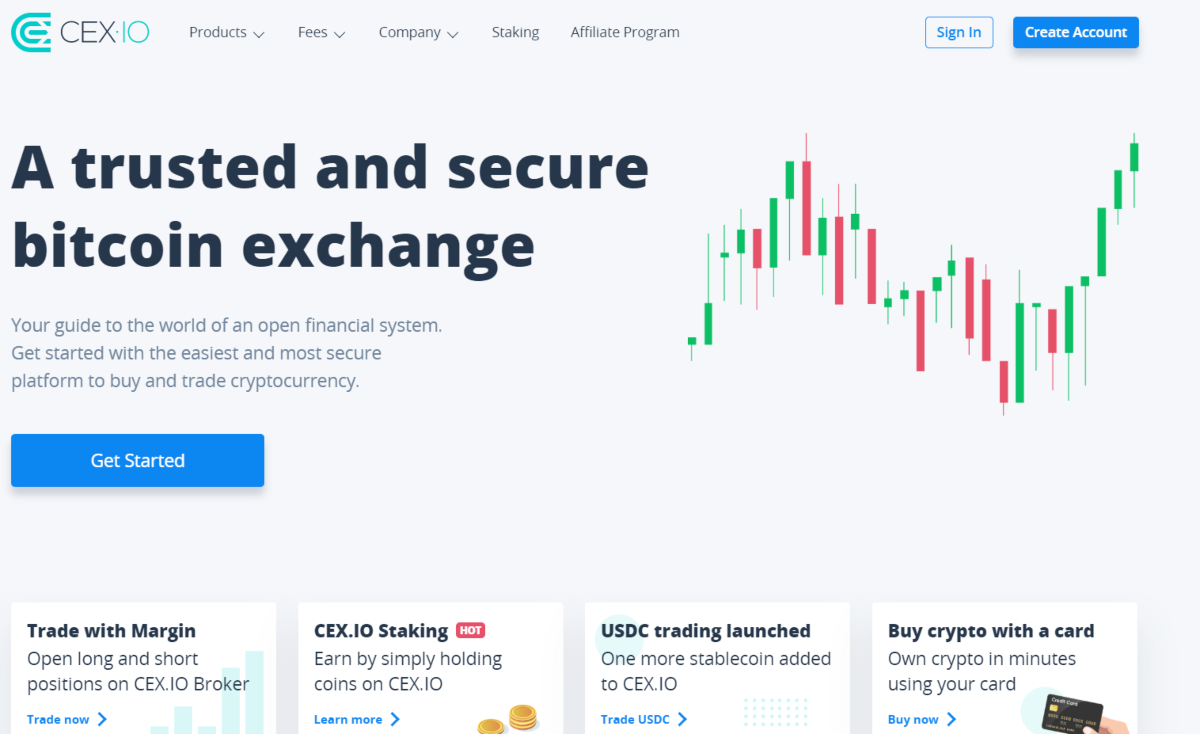 This is a screenshot taken from the CEX.io exchange that shows it's easy to start trading and users can trade with margin, earn by holding coins and buy crypto with debit or credit card.
