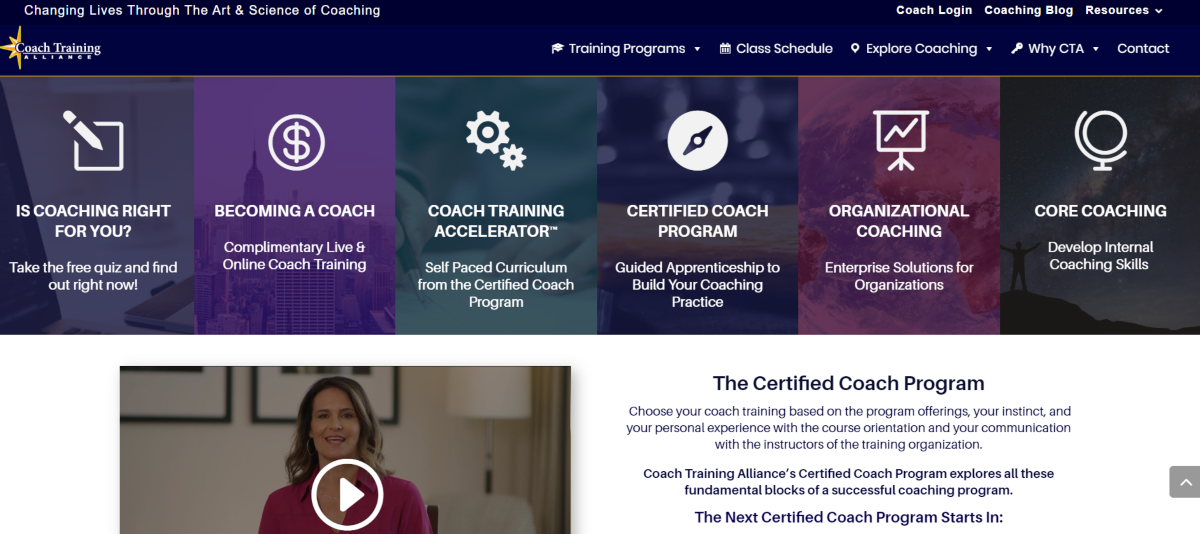 This is a screenshot of the CoachTrainingAlliance.com website that provides ICF accredited training to those who want to become business coaches or specialize in a different field of the coaching industry.