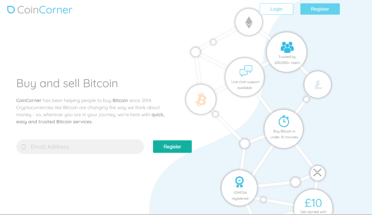 This is a screenshot of the CoinCorner.com european bitcoin exchange that supports GBP and EUR currencies to buy bitcoin