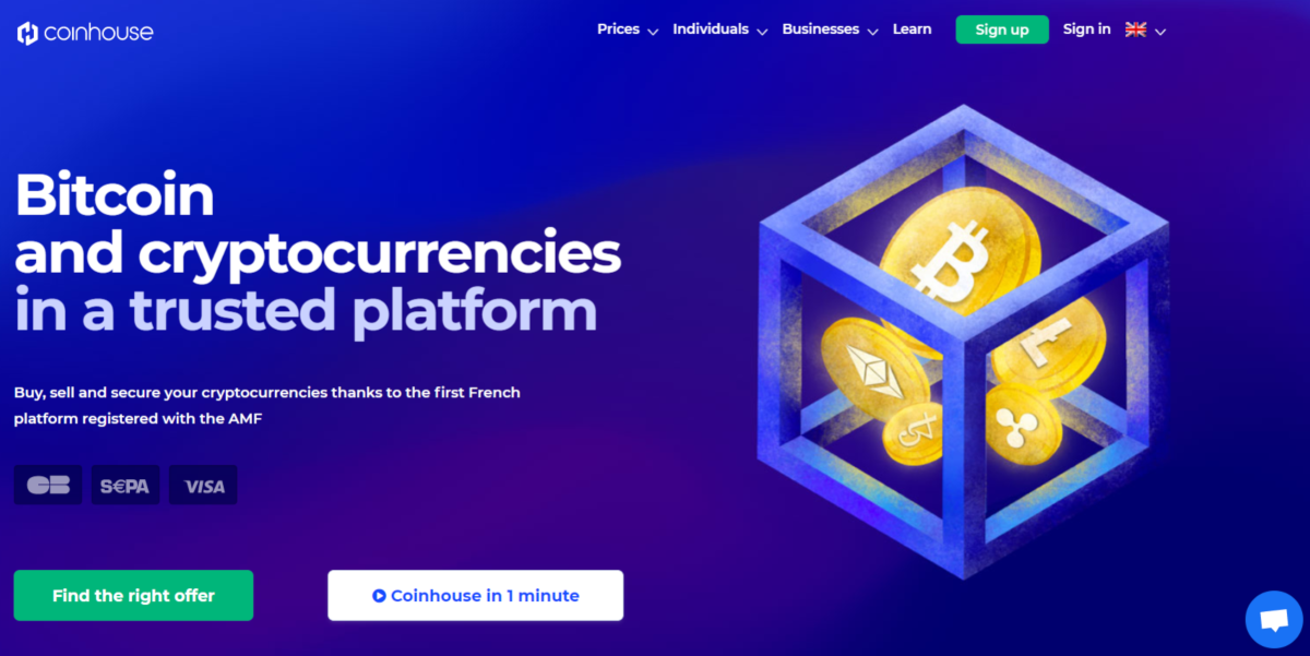 This is a screenshot taken from the Coinhouse.com website that states they are the first French cryto exchange to be registered with the AMF.