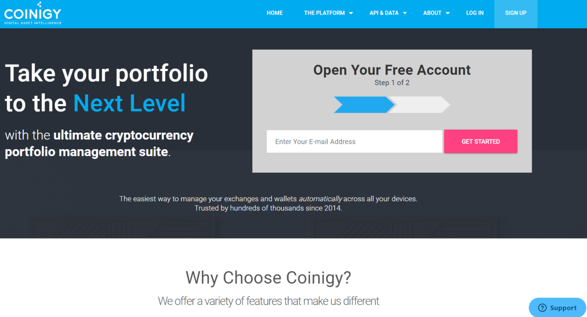 This is a screenshot taken from the Coinigy.com website showing they offer a suite of tools to manage cryptocurrency portfolios.