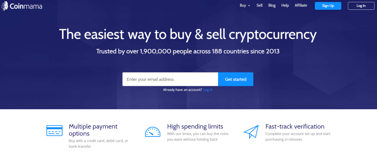 This is a screenshot taken from the coinmama.com homepage showing the exchange offers the fastest way to buy and sell cryptocurrency.