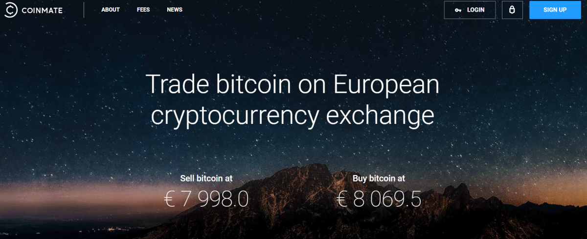 This is a screenshot taken from the Coinmate.io website - a European bitcoin exchange.