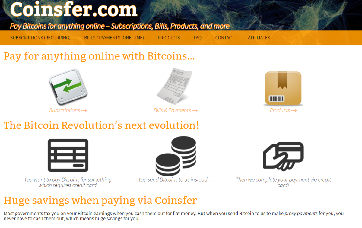 This is a screenshot of the Coinsfer.com website which is a shopping and shipping service combined to buy from U.S. companies, ship internationally and pay the invoice with bitcoin.