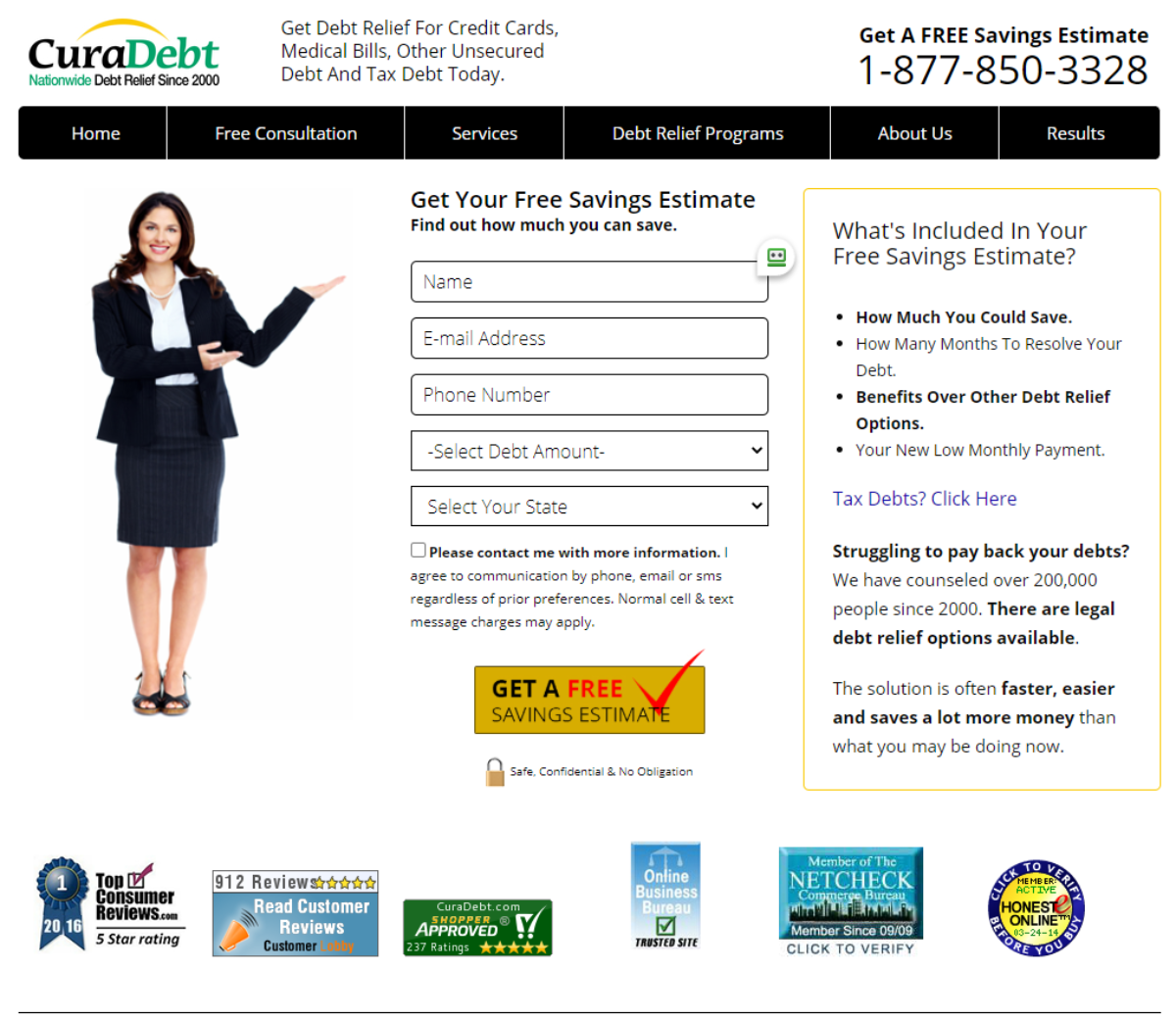 This is a screenshot taken from the Curadebt.com website where people can help with IRS tax debt relief.