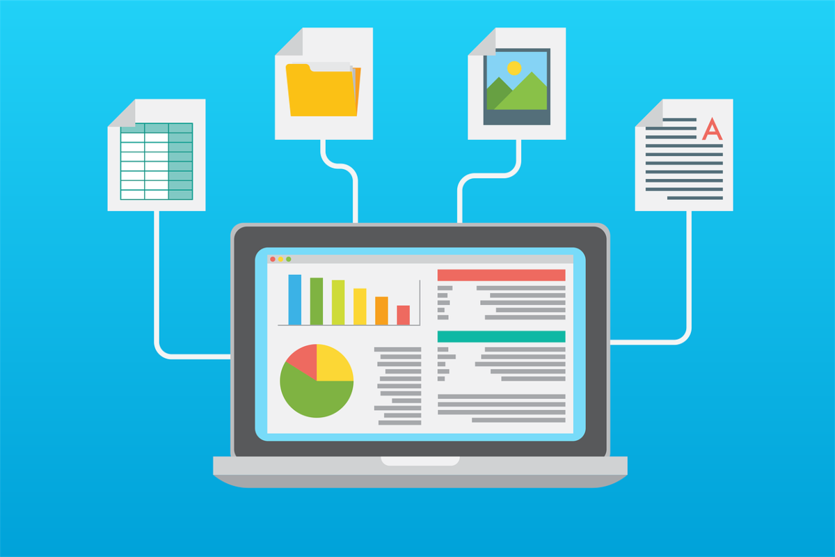The image shows a computer screen with charts and graphs surrounded by logos for spreadsheets, folders, files, and images that's representative of how data entry affiliate programs are used to market software and managed services to help digitize the process of paper documents.
