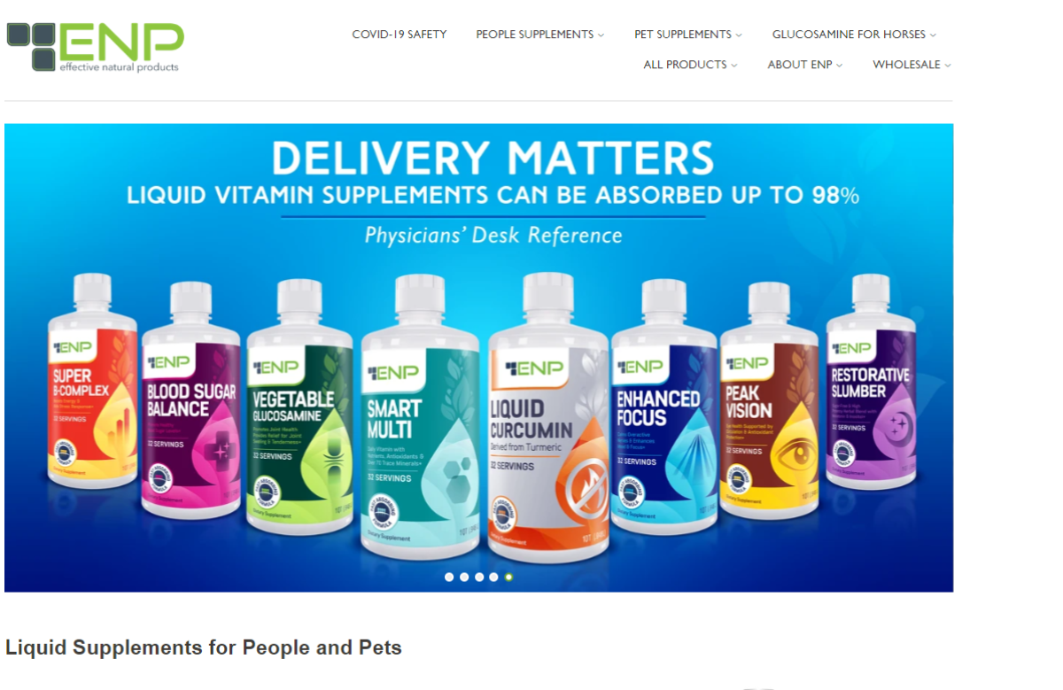 This is a screenshot taken from the EffectiveNaturalProducts.com website showing a range of liquid vitamin supplements  that are more effective than capsules because liquid is absorbed faster and more effectively, which is why the site name is Effective Natural Products