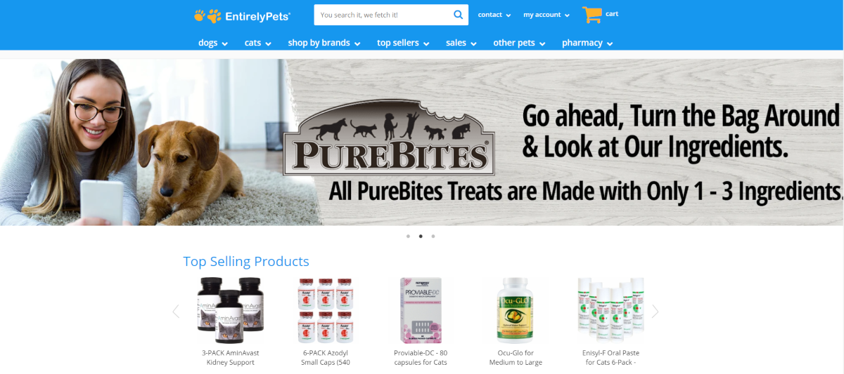 This is a screenshot taken from the EntirelyPets.com home page showing the categories of pet products they have stocked including natutral pet care products.