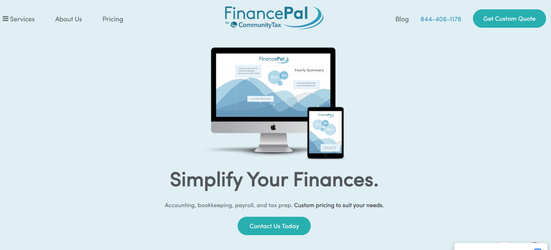 This is a screenshot taken from the FinancePal.com that provides accounting outsourcing services for bookkeeping, payroll, and tax prep.