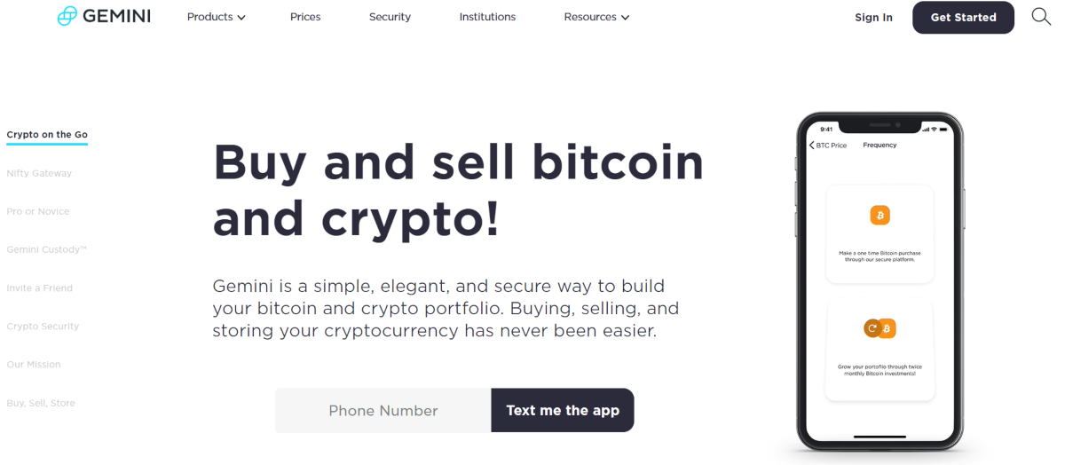 This is a screenshot taken from the Gemini.com, the most secure crypto exchange in the US to buy bitcoin and ethereum.