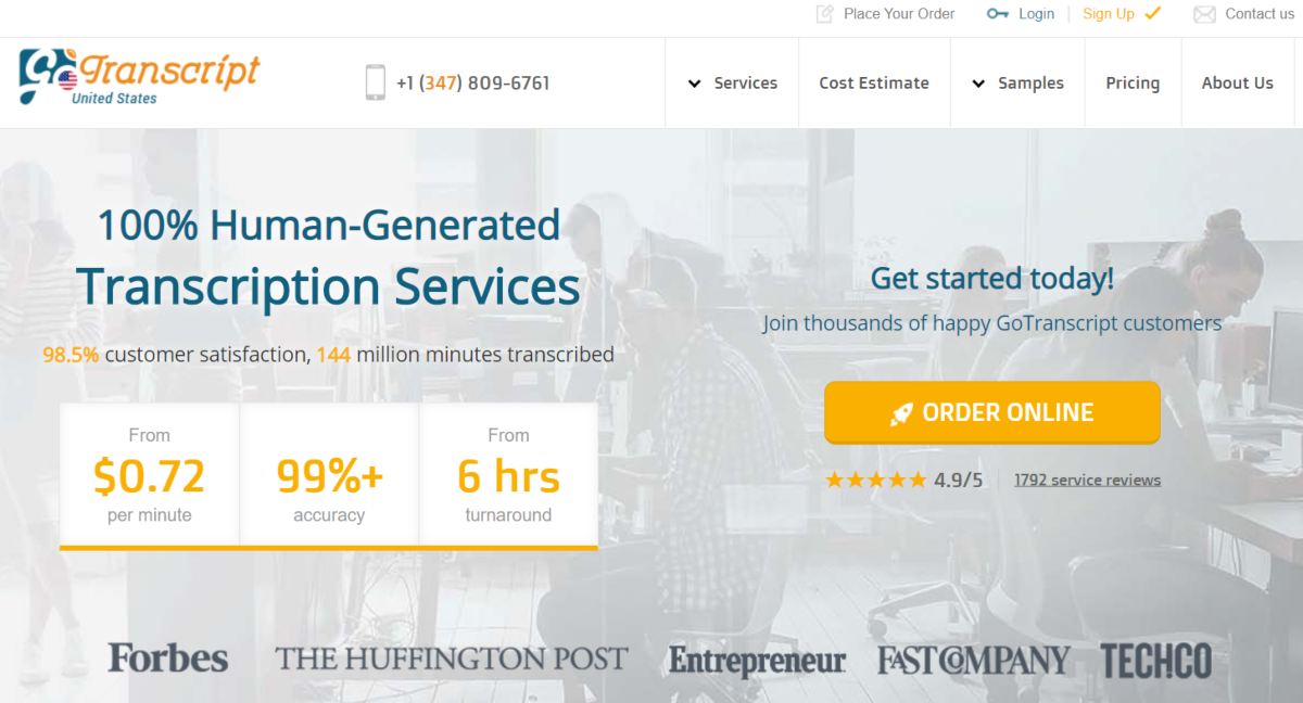 This is a screenshot taken from GoTranscript.com - a transcription agency. The image shows they have 98.5% customer satisfaction rating based on 1,792 reviews.