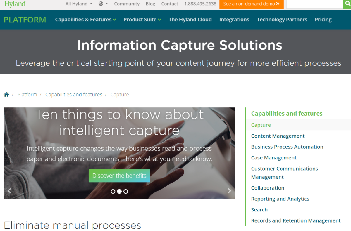This is a screenshot taken from the Hyland.com website showing the information capture solutions page of hyland.com that uses ICR technology that can eliminate manual processes.