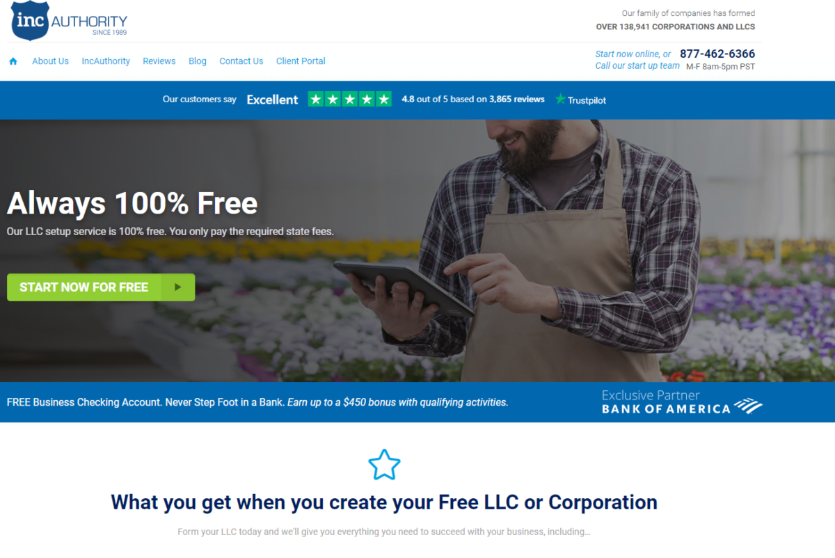 This is a screenshot taken from the IncAuthority.com website that provides free and paid business start-up services including entity formations.