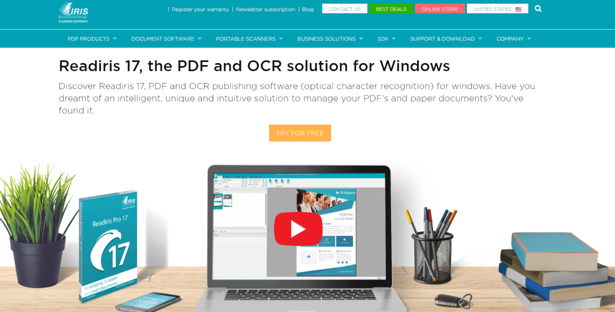 This is a screenshot taken from Irislink.com showing the ReadIris 17 OCR software for Windows.