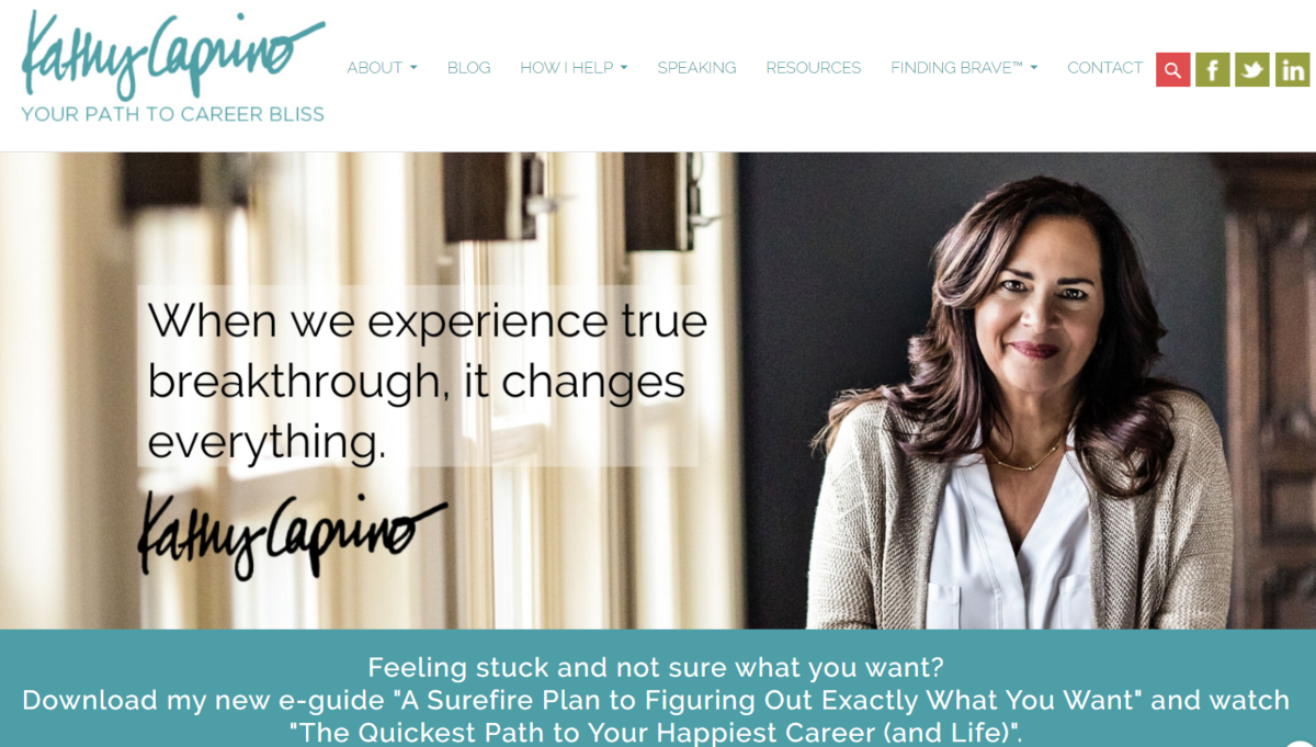 The image is a screenshot from the KathyCaprino.com website showing a photo of Kathy Caprino on the home page offering breakthrough business coaching services.