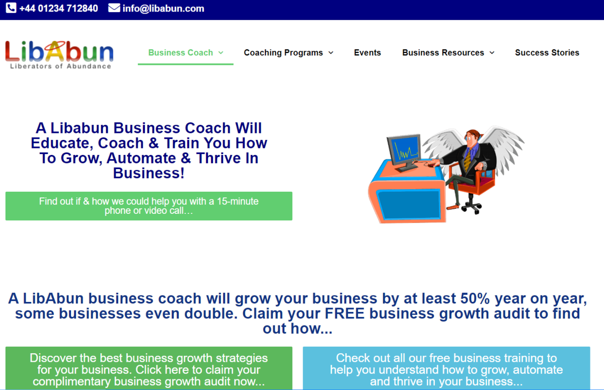 This is a screenshot of the Libabun.com website, where UK companies can get one-on-one business coaching by Neil Sinclair and businesses elsewhere can access business coaching remotely, either 1-to-1 or group coaching.