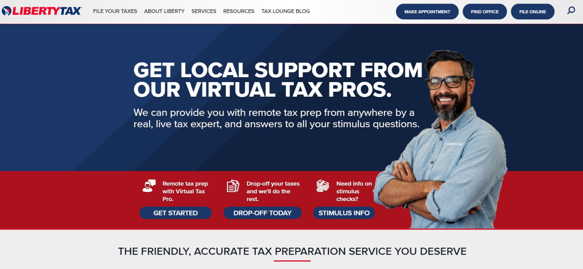 This is a screenshot taken from the LibertyTax.com website showing they provide tax prep support online and in-person throughout the US.