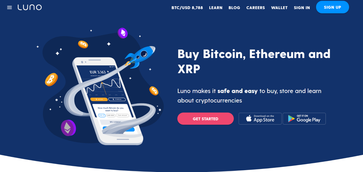 This is a screenshot of the Luno bitcoin exchange showing they now include Ethereum and Ripple trading and provide training resources.