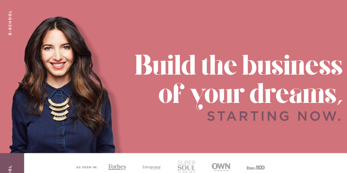 This is a screenshot of the MarieForleoBSchool.com website that opens once per year to provide business building training and coaching to female entrepreneurs.