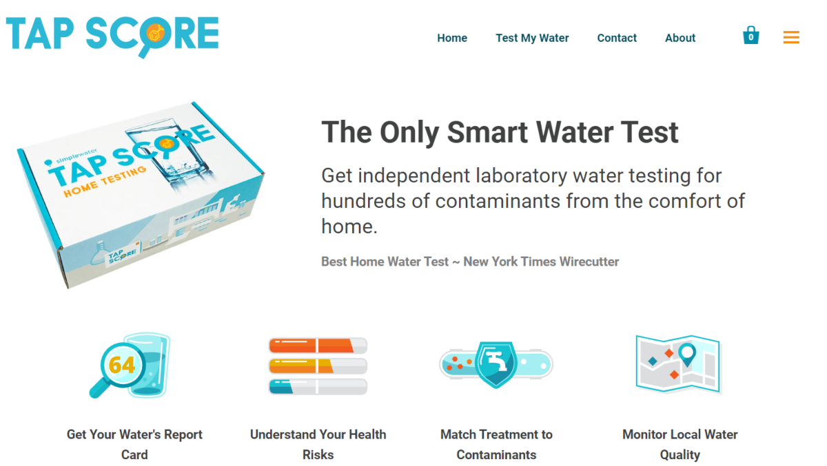 "This is a screenshot taken from the official ""Tap Score"" website that provides laboratory testing to identify contaminants and give homeowners toxicological and epidemiological research reports on the quality of their tap water with suggestions to improve water quality."
