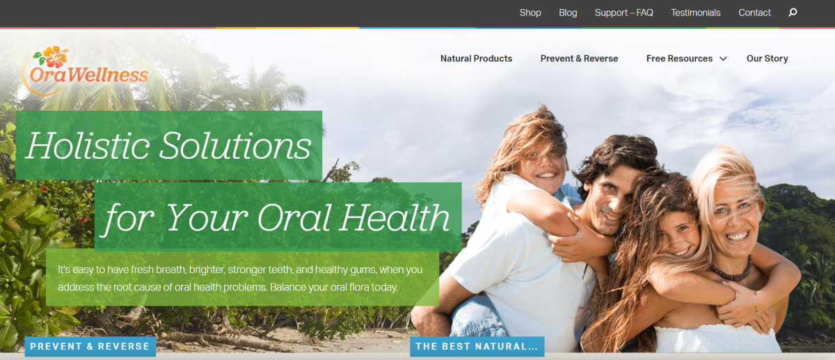 This is a screenshot taken from the orawellness.com website showing they provide holistic solutions for oral health.