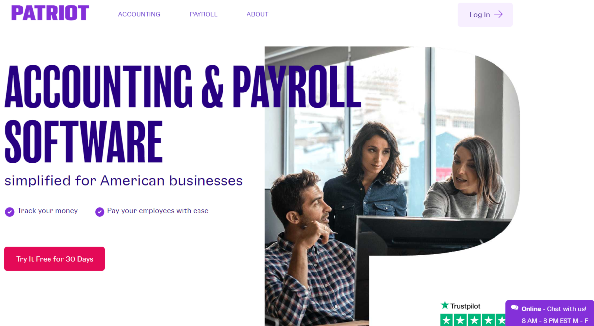 This is a screenshot taken from the PatriotSoftware.com website showing they provide payroll software to simplify accounting.
