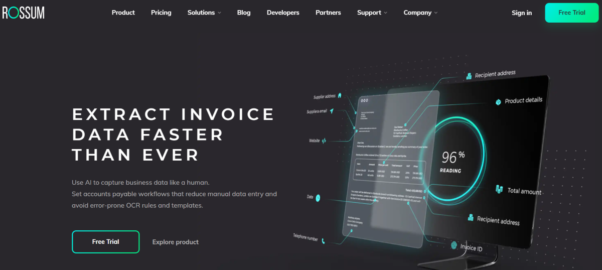 This is a screenshot from the Rossum.ai website showing the software uses AI to automate invoice data extraction to streamline accounts payable workflows.