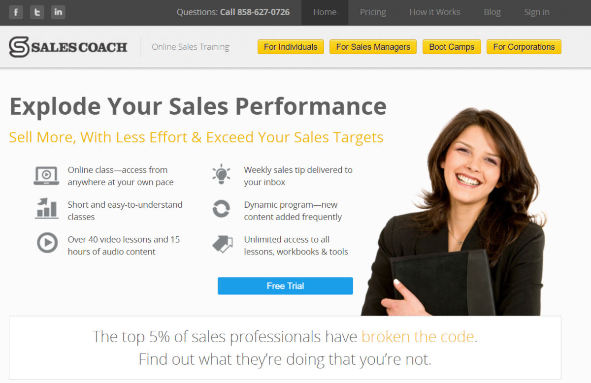 This is a screenshot taken from the SalesCoach.com website that provides sales coaching services to business owners and sales professionals in mid to senior sale management roles.