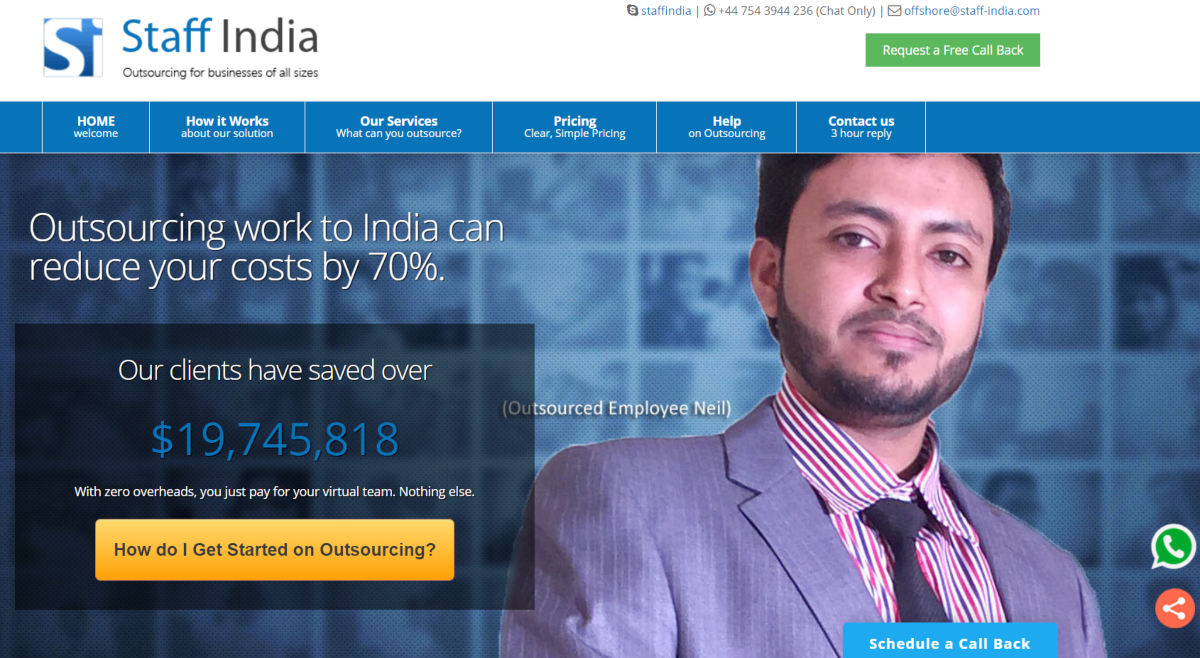 This is a screenshot taken from Staff-India.com where data entry can be outsourced offshore to reduce costs by up to 70%.