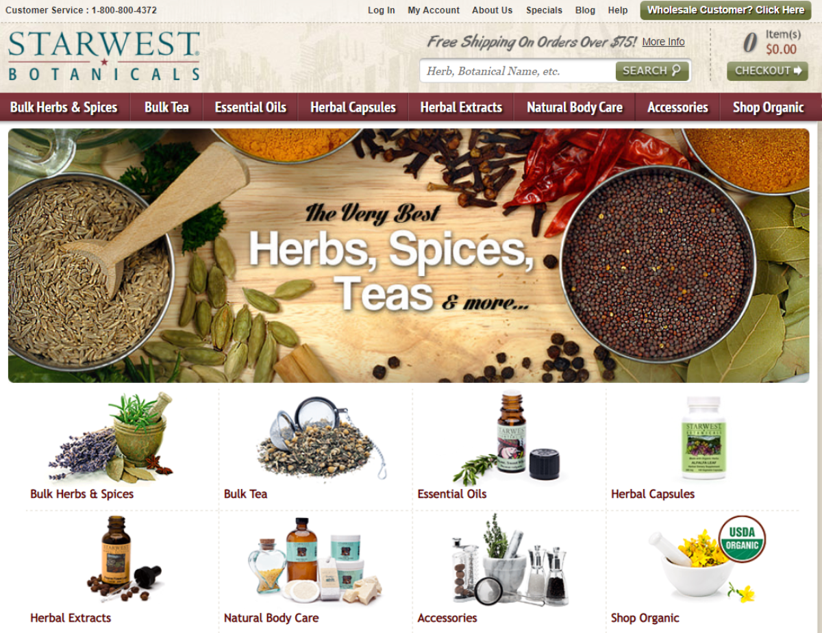 This is a screenshot taken from the Starwest-botanicals.com website showing the categories of natural products they have that range from herbs, spices, teas, herbal extracts and natural body care products.